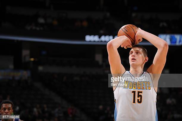 Nikola Jokic of the Denver Nuggets sft against the Philadelphia 76ers on March 23 2016 at the Pepsi Center in Denver Colorado NOTE TO USER User...