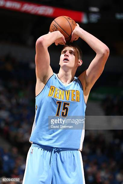 Nikola Jokic of the Denver Nuggets shoots a free throw against the Minnesota Timberwolves during the game on November 3 2016 at Target Center in...