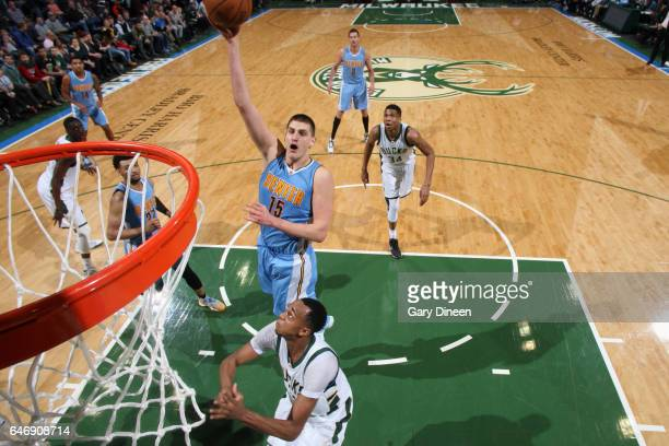 Nikola Jokic of the Denver Nuggets shoots the ball against the Milwaukee Bucks on March 1 2017 at the BMO Harris Bradley Center in Milwaukee...