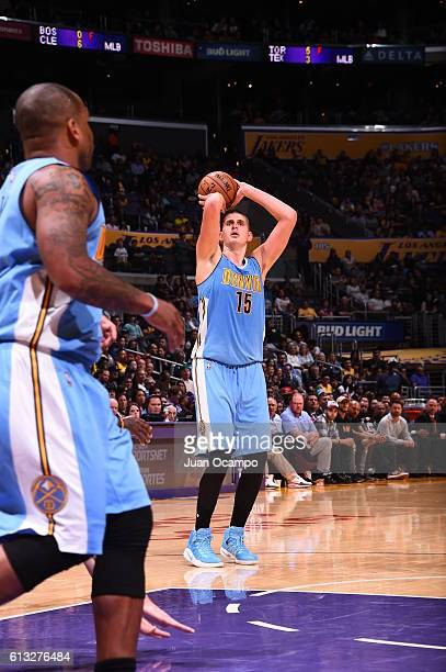 Nikola Jokic of the Denver Nuggets shoots the ball against the Los Angeles Lakers during a preseason game on October 7 2016 at STAPLES Center in Los...
