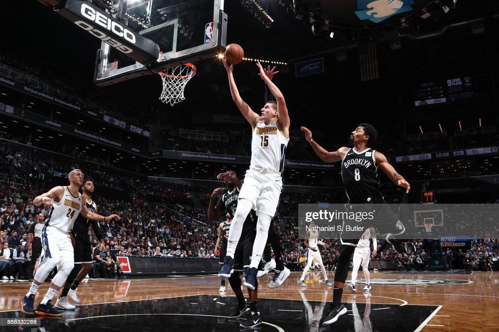 Nikola Jokic #15 of the Denver Nuggets shoots the ball against the Brooklyn Nets on October 29, 2017 at Barclays Center in Brooklyn, New York.