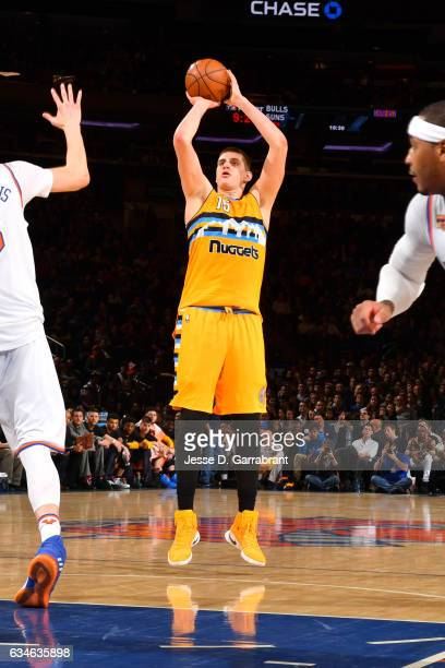 Nikola Jokic of the Denver Nuggets shoots the ball against the New York Knicks on February 10 2017 at Madison Square Garden in New York City New York...
