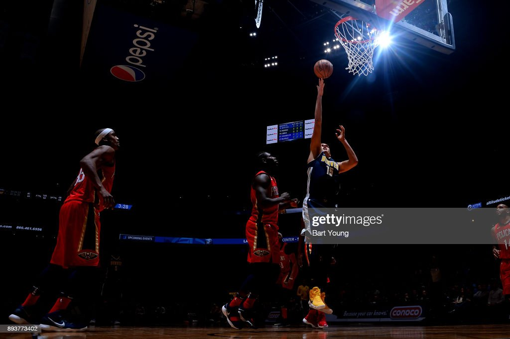 Nikola Jokic #15 of the Denver Nuggets shoots the ball against the New Orleans Pelicans on December 15, 2017 at the Pepsi Center in Denver, Colorado.
