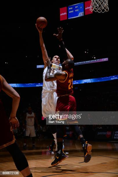 Nikola Jokic of the Denver Nuggets shoots the ball during the game against the Cleveland Cavaliers on March 22 2017 at the Pepsi Center in Denver...