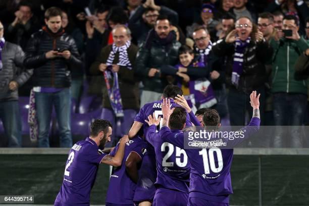 Nikola Kalinc of ACF Fiorentina celebrates after scoring a goal during the UEFA Europa League Round of 32 second leg match between ACF Fiorentina and...