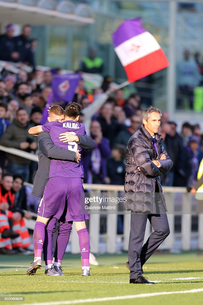 Nikola Kalinic (R) and Ante Rebic of ACF Fiorentina celebrate after scoring a goal during the Serie A match between ACF Fiorentina and AC Chievo Verona at Stadio Artemio Franchi on December 20, 2015 in Florence, Italy.