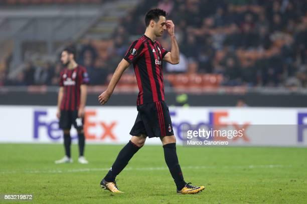 Nikola Kalinic of AC Milan despairs during the UEFA Europa League group D football match between AC Milan and AEK Athens