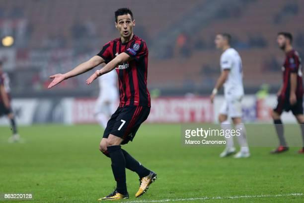 Nikola Kalinic of AC Milan gestures during the UEFA Europa League group D football match between AC Milan and AEK Athens