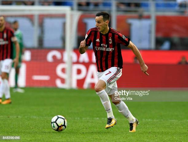 Nikola Kalinic of AC Milan in action during the Serie A match between AC Milan and Udinese Calcio at Stadio Giuseppe Meazza on September 17 2017 in...