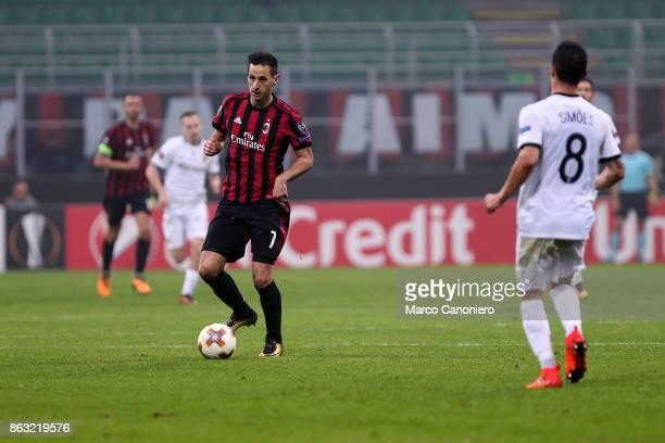 Nikola Kalinic of AC Milan in action during the UEFA Europa League group D football match between AC Milan and AEK Athens