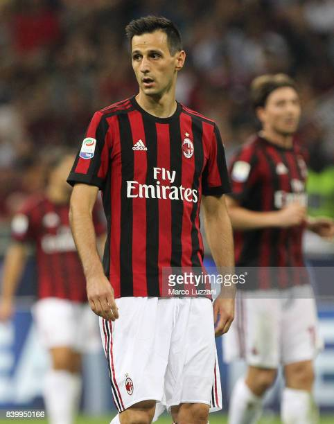 Nikola Kalinic of AC Milan looks on during the Serie A match between AC Milan and Cagliari Calcio at Stadio Giuseppe Meazza on August 27 2017 in...
