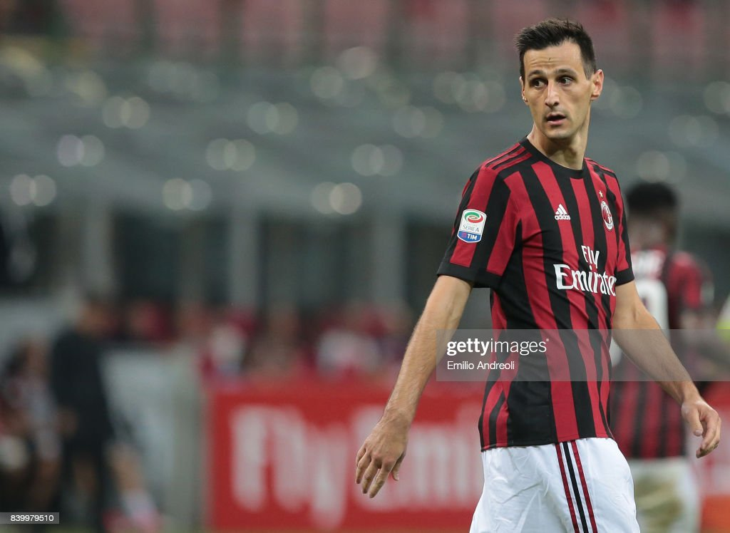 Nikola Kalinic of AC Milan looks on during the Serie A match between AC Milan and Cagliari Calcio at Stadio Giuseppe Meazza on August 27, 2017 in Milan, Italy.