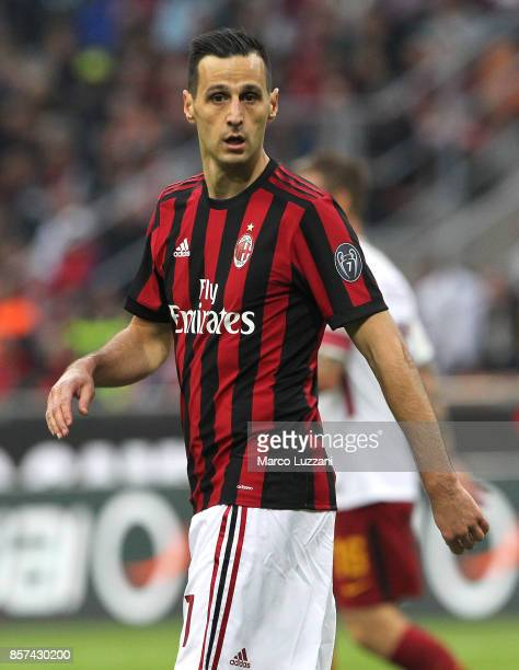 Nikola Kalinic of AC Milan looks on during the Serie A match between AC Milan and AS Roma at Stadio Giuseppe Meazza on October 1 2017 in Milan Italy