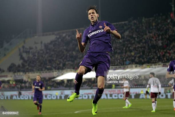 Nikola Kalinic of ACF Fiorentina celebrates after scoring a goal during the Serie A match between ACF Fiorentina and FC Torino at Stadio Artemio...