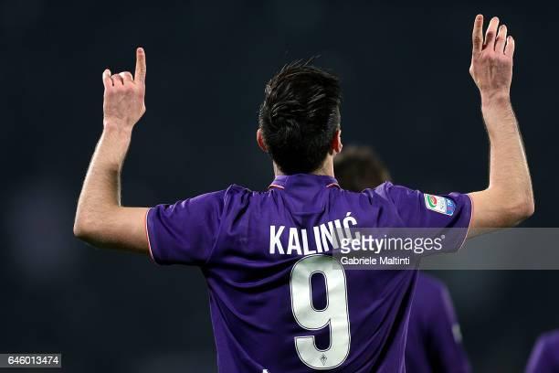 Nikola Kalinic of ACF Fiorentina celebrates after scoring a goal during the Serie A match between ACF Fiorentina and FC Torino at Stadio Artemio...