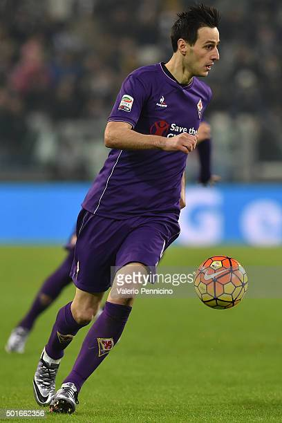 Nikola Kalinic of ACF Fiorentina in action during the Serie A match betweeen Juventus FC and ACF Fiorentina at Juventus Arena on December 13 2015 in...