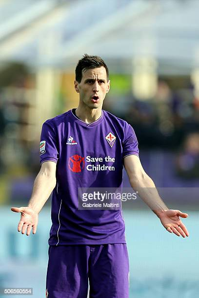 Nikola Kalinic of ACF Fiorentina reacts during the Serie A match between ACF Fiorentina and Torino FC at Stadio Artemio Franchi on January 24 2016 in...