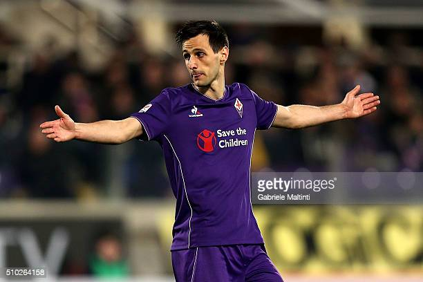 Nikola Kalinic of ACF Fiorentina reacts during the Serie A match between ACF Fiorentina and FC Internazionale Milano at Stadio Artemio Franchi on...