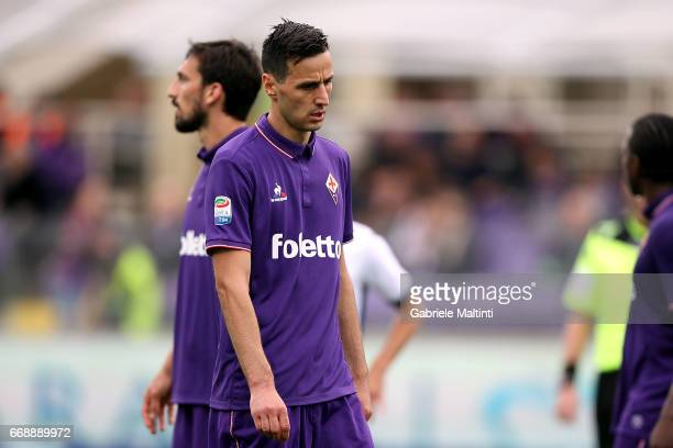 Nikola Kalinic of ACF Fiorentina reacts during the Serie A match between ACF Fiorentina and Empoli FC at Stadio Artemio Franchi on April 15 2017 in...