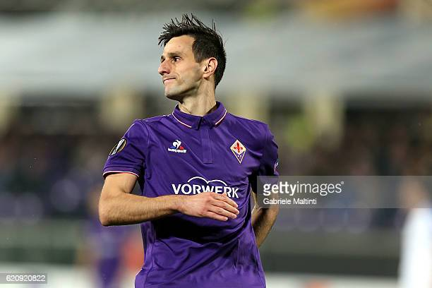 Nikola Kalinic of ACF Fiorentina reacts during the UEFA Europa League match between ACF Fiorentina and FC Slovan Liberec at Artemio Franchi on...
