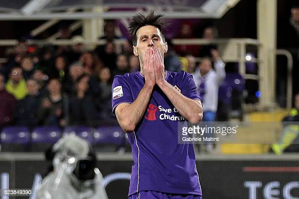 Nikola Kalinic of ACF Fiorentina shows his dejection during the Serie A match between ACF Fiorentina and Juventus FC at Stadio Artemio Franchi on...