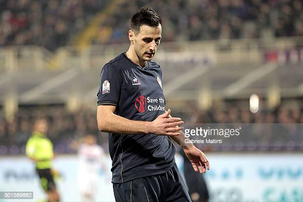 Nikola Kalinic of ACF Fiorentina shows his dejection during the TIM Cup match between ACF Fiorentina and Carpi FC at Stadio Artemio Franchi on...