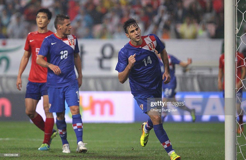 Nikola Kalinic of Croatia celebrates after scoring a goal during the international friendly match between South Korea and Croatia at the Jeonju World Cup Stadium on September 10, 2013 in Jeonju, South Korea.