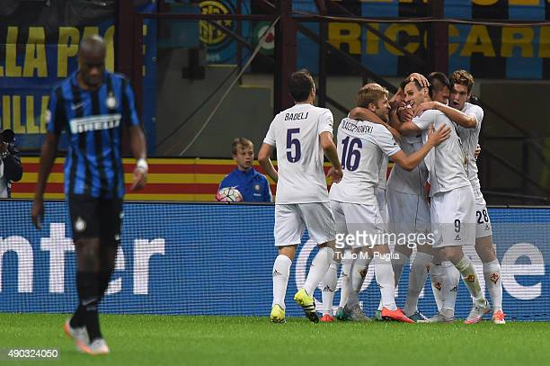 Nikola Kalinic of Fiorentina celebrates with team mates after scoring his team's third goal during the Serie A match between FC Internazionale Milano...