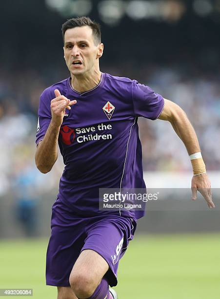 Nikola Kalinic of Fiorentina during the Serie A match between SSC Napoli and ACF Fiorentina at Stadio San Paolo on October 18 2015 in Naples Italy