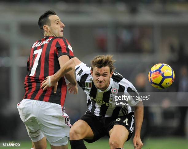 Nikola Kalinic of Milan player and Daniele Rugani of Juventus player during the match valid for Italian Football Championships Serie A 20172018...