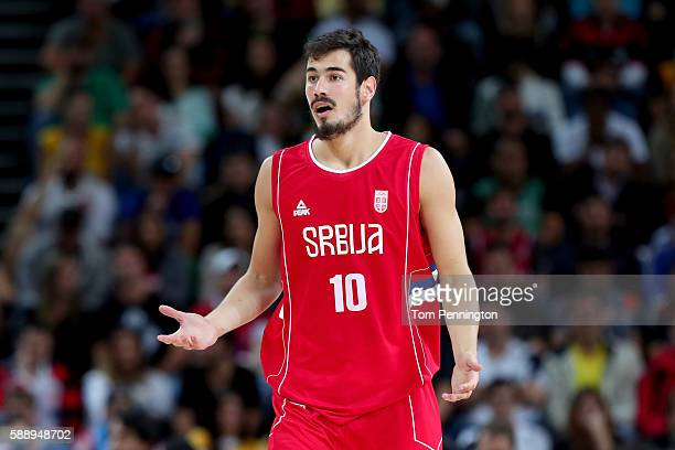 Nikola Kalinic of Serbia reacts during the Men's Preliminary Round Group A match against the United States on Day 7 of the Rio 2016 Olympic Games at...