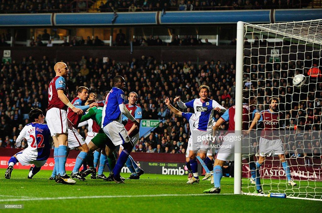 Nikola Kalinic scores a goal for Blackburn Rovers during the Carling Cup Semi-Final, second leg match between Aston Villa and Blackburn Rovers at Villa Park on January 20, 2010 in Birmingham, England.