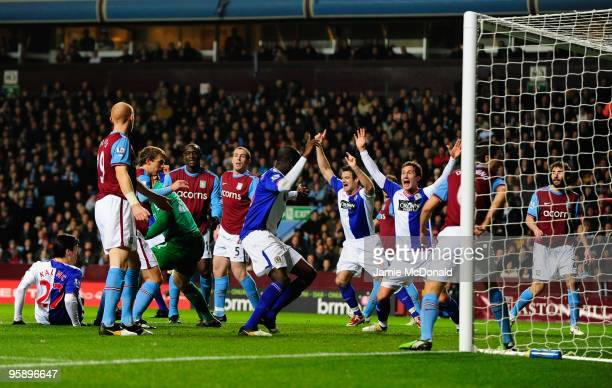 Nikola Kalinic scores a goal for Blackburn Rovers during the Carling Cup SemiFinal second leg match between Aston Villa and Blackburn Rovers at Villa...