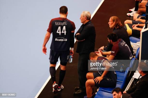 Nikola Karabatic and Zvonimir Serdarusic head coach of PSG during the Lidl Starligue match between Paris Saint Germain and Saint Raphael on October 5...