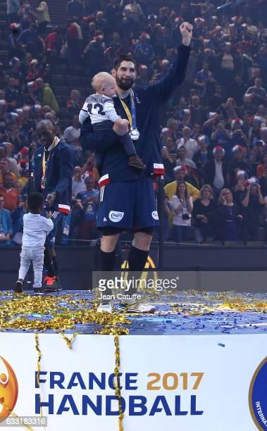 Nikola Karabatic of France and his son Alek Karabatic celebrate the victory following the 25th IHF Men's World Championship 2017 Final between France...