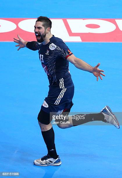 Nikola Karabatic of France celebrates a goal during the 25th IHF Men's World Championship 2017 Final between France and Norway at Accorhotels Arena...