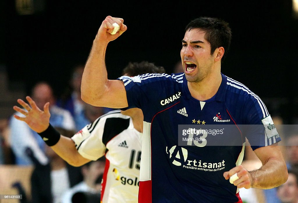 Nikola Karabatic of France celebrates after scoring during the Men's Handball European main round Group II match between Germany and France at the Olympia Hall on January 24, 2009 in Innsbruck, Austria.