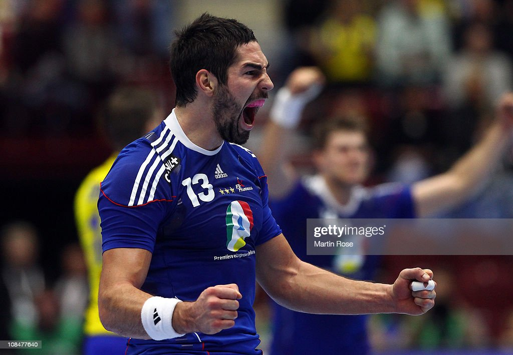 <a gi-track='captionPersonalityLinkClicked' href=/galleries/search?phrase=Nikola+Karabatic&family=editorial&specificpeople=620415 ng-click='$event.stopPropagation()'>Nikola Karabatic</a> of France celebrates during the Men's Handball World Championship semi final match between Sweden and France at Malmo Arena on January 28, 2011 in Malmo, Sweden.