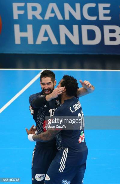 Nikola Karabatic of France greets Cedric Sorhaindo following the 25th IHF Men's World Championship 2017 Final between France and Norway at...