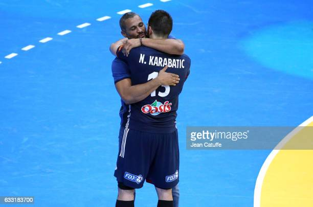 Nikola Karabatic of France greets coach of France Didier Dinart following the 25th IHF Men's World Championship 2017 Final between France and Norway...