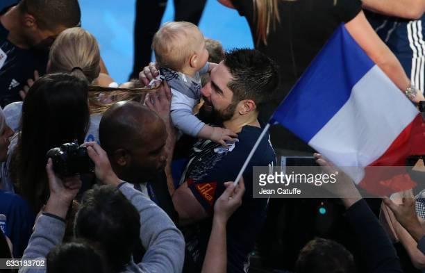 Nikola Karabatic of France holds his son Alek Karabatic following the 25th IHF Men's World Championship 2017 Final between France and Norway at...