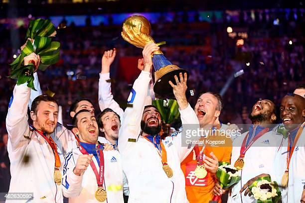 Nikola Karabatic of France lifts the trophy during the podium after the final match between Qatar and France in the Men's Handball World Championship...