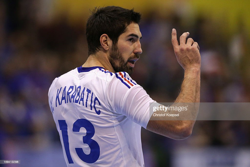 <a gi-track='captionPersonalityLinkClicked' href=/galleries/search?phrase=Nikola+Karabatic&family=editorial&specificpeople=620415 ng-click='$event.stopPropagation()'>Nikola Karabatic</a> of France looks on during the premilary group A match between Montenegro and France at Palacio de Deportes de Granollers on January 13, 2013 in Granollers, Spain.