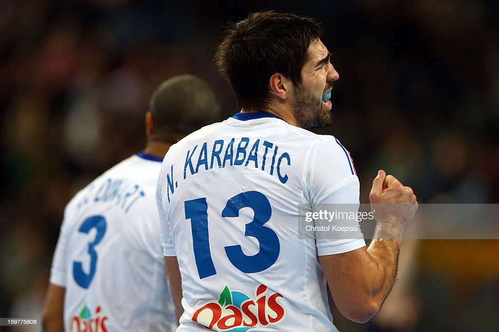 Nikola Karabatic of France looks thoughtful during the round of sixteen match between Iceland and France at Palau Sant Jordi on January 20, 2013 in Barcelona, Spain.