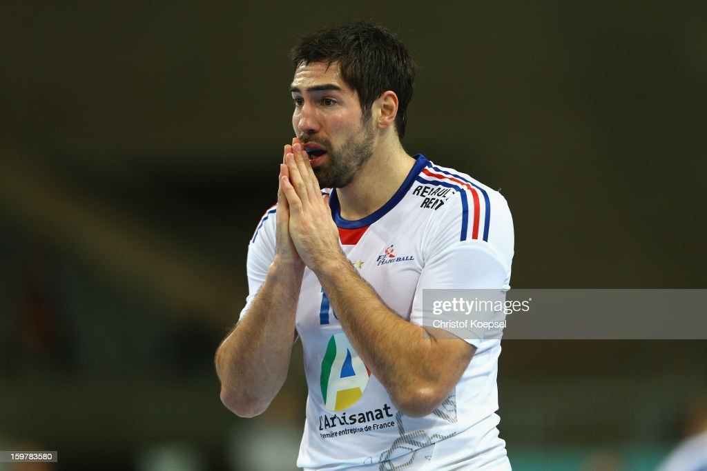 <a gi-track='captionPersonalityLinkClicked' href=/galleries/search?phrase=Nikola+Karabatic&family=editorial&specificpeople=620415 ng-click='$event.stopPropagation()'>Nikola Karabatic</a> of France prays during the round of sixteen match between Iceland and France at Palau Sant Jordi on January 20, 2013 in Barcelona, Spain.