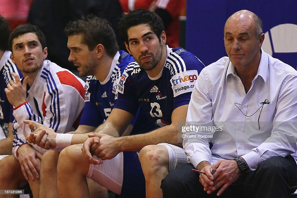 <a gi-track='captionPersonalityLinkClicked' href=/galleries/search?phrase=Nikola+Karabatic&family=editorial&specificpeople=620415 ng-click='$event.stopPropagation()'>Nikola Karabatic</a> of France sits dejected on the bench during the Men's European Handball Championship group C match between France and Hungary at Spens Arena on January 20, 2012 in Novi Sad, Serbia.