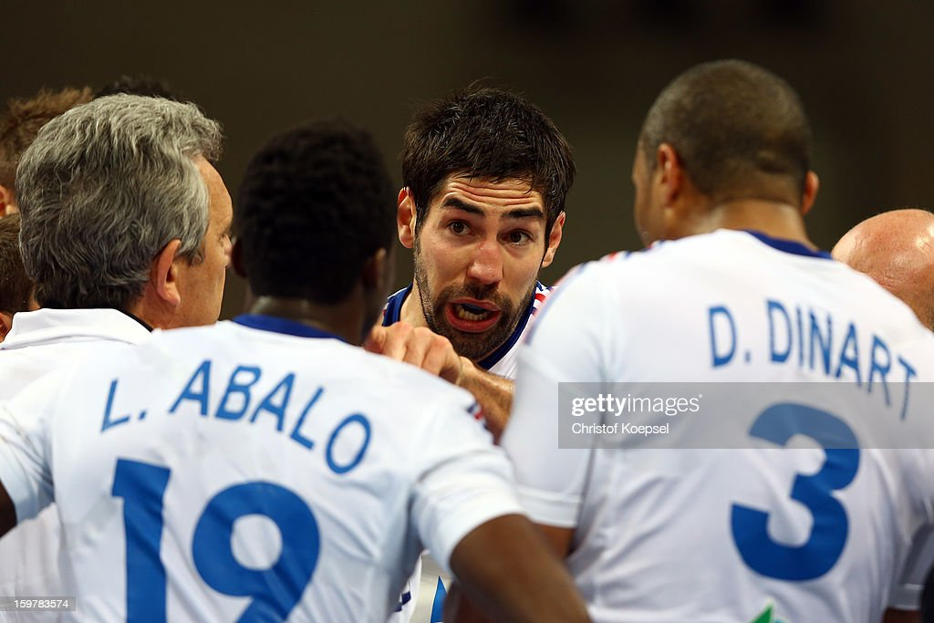 Nikola Karabatic of France speaks to the team during the round of sixteen match between Iceland and France at Palau Sant Jordi on January 20, 2013 in Barcelona, Spain.