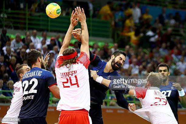 Nikola Karabatic of France takes a shot during the Men's Gold Medal Match between Denmark and France on Day 16 of the Rio 2016 Olympic Games at...