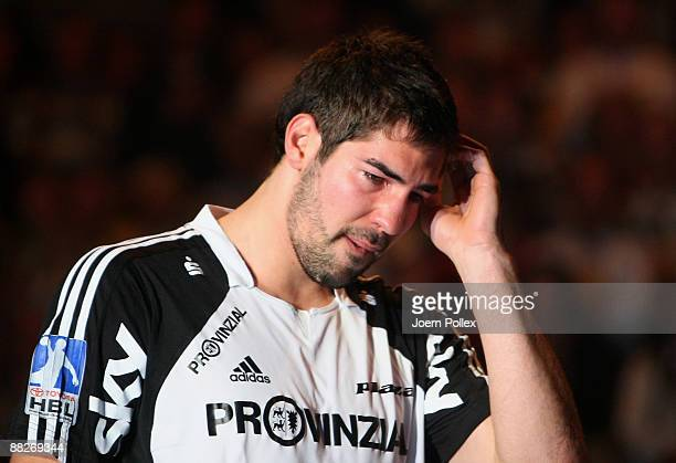 Nikola Karabatic of Kiel is crying after the Toyota Handball Bundesliga match between THW Kiel and SG Flensburg at the Sparkassen Arena on June 6...