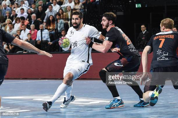 Nikola Karabatic of Paris and Ludovic Fabregas of Montpellier during the Starligue Lidl match between Montpellier and Paris Saint Germain PSG on...